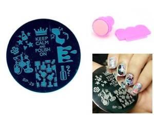 Keep Calm Nail Art DIY Manicure Template Image Plate Stamp Scraper Kit BP 29