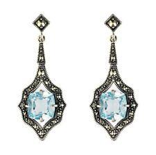 Esse Marcasite Sterling Silver Blue Topaz & Marcasite Art Nouveau Drop Earrings