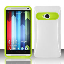 For HTC One M7 TPU Candy HYBRID GLOW Case Phone Cover White Neon Green