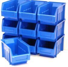 10 BLUE STACKING STORAGE PARTS BINS FOR GARAGE STORAGE BOX