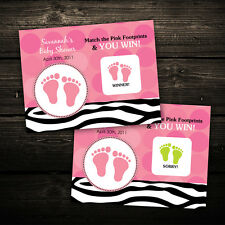 Mod Zebra Print Baby Shower Scratch Off Ticket Game Favor -- Any Color