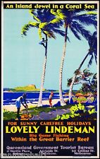 Lovely Lindeman Queensland Australia Vintage Travel Advertisement Art Poster