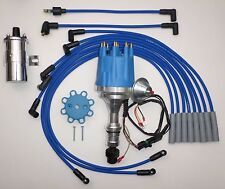 Small Cap OLDSMOBILE 350,400,403,455 BLUE HEI Distributor +Chrome Coil+PLUG WIRE