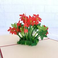 Handmade Red Flowering Poinsettia Bush 3D Pop Up Card