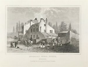 View of Hornsey Wood House Harringay Middlesex c1840 original engraved print