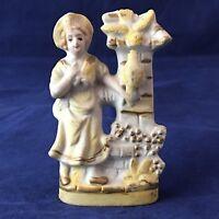 Antique Bud Vase Porcelain Bisque  Poppy Vase Japan Vintage Figural Girl