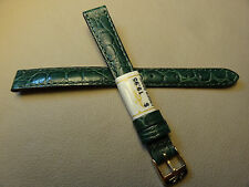 France Made Green Crocodile Grain 12mm LONG Watch Band Gold Tone Buckle $19.95