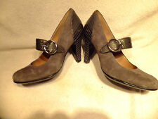 "SOFFT Grey Suede & Patent Leather Mary Jane Strap 3 5/8"" Heel Sz 8M WORN ONCE"
