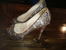CHRISTIAN LOUBOUTIN TAN BROWN PYTHON SNAKE SKIN SANDALS 41.5