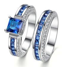 2pcs 925 Silver Sapphire & Blue Zircon Rings Set Wedding Jewelry Gift Size 6-11