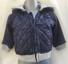 BABY BOYS NAVY BLUE HOODED PART QUILTED PART FLEECE JACKET - AGE 3-6 MONTHS
