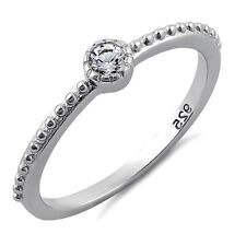 925 Sterling Silver Ring size 10 CZ Beaded Midi Solitaire Ladies Fashion New x56