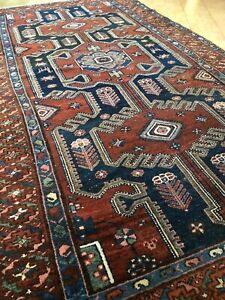 """4'5""""x8'2"""" Antique Zenjan hand-knotted wool tribal rug/ beautiful organic colors"""