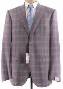 Corneliani NWT Sport Coat 44L Red/Purple W/ Light Blue Plaid Wool Leader $1,295