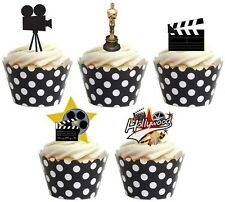 HOLLYWOOD THEME Edible cake party toppers x 20 STAND UPS