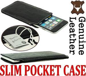 SLIM PREMIUM GENUINE LEATHER POCKET CASE COVER SLEEVE POUCH - RANGE OF MODELS
