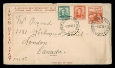 DR WHO 1938 NEW ZEALAND GREY LYNN ARCH HILL FDC HEALTH STAMP COMBO  g12348