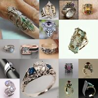 925 Silver Ring Turquoise Moonstone Amethyst Emerald Citrine Vintage Jewelry