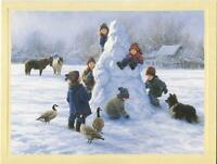 1 CHRISTMAS CHILDREN BUILDING SNOWMAN HORSES GEESE COLLIE DOG GREETING ART CARD