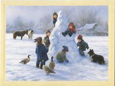 1 CHRISTMAS SNOWMAN ICELANDIC HORSES GEESE COLLIE DOG SNOW CARD 1 TEA CUP CARD