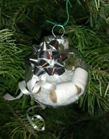 HAND CRAFT TOILET PAPER AND SNOW CHRISTMAS TREE ORNAMENT WHITE RIBBON
