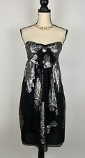 NICOLE MILLER COLLECTION WOMEN'S BABYDOLL DRESS SILK METALLIC STRAPLESS BOW SZ6