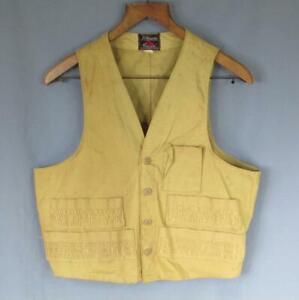 Vintage 1950s JC Higgins Hunting Shooting Vest Canvas Khaki Tan Sportsmans Sz.40