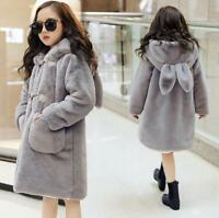 Hot Kids Children Girls Faux Rabbit Fur Slim Jacket Long Parka Hooded Coat 2019