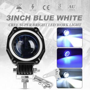 3'' IN LED Headlight Driving Work Light Bar Hi&Lo Beam Blue Halo For Ford 12V