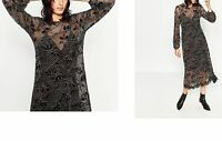 ZARA LACE MIDI DRESS - Floral Long Sleeved Lining XS S M L - RRP £59.99 New