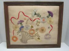 Vintage Needlepoint Framed Floral Crewel Stitchery Flower Basket Wood Frame