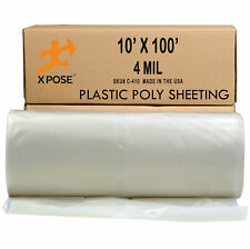 Clear Poly Sheeting - 10' x 100' Feet 4 Mil Thick Plastic Tarp Waterproof
