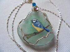 "Blue tit on branch seaglass necklace hand painted to order 18"" silver chain"