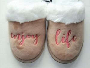 Love this Life SLIPPERs Tan Pink Slip On Flats Small 5-6 ENJOY LIFE - FLASH SALE