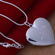 Hot Fashion Women Men's 925 Silver Plated Heart LOCKET Photo Pendant Necklace