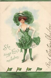 G36/ St Patrick's Day Holiday Postcard c1910 Pretty Woman Large Hat Melodies 10
