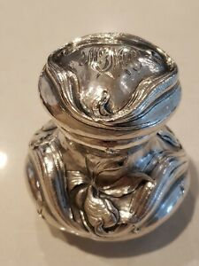 RARE GORHAM STERLING ART NOUVEAU INKWELL Martele Style