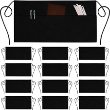 12 Pack Server Aprons with 3 Pockets - Waist Apron Waiter Waitress Apron Water