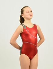 "Gymnastics ""Zip"" tank leotard size Med child or Xsmall adult red-grey foil spdx"