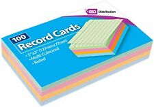 100 Record Cards 5x3 Multi Coloured Ruled By EA Distribution LTD