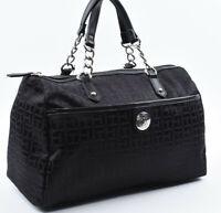 TOMMY HILFIGER Small Monogram Fabric Satchel Bag, Handbag, Black