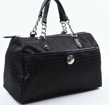 TOMMY HILFIGER Small Monogram Fabric Satchel Bag, Handbag, Black