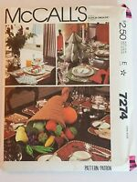 McCalls 7274 Holiday Table Settings Sewing Pattern NOS Uncut 1980