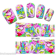 Nail Art Water Decals Stickers Wraps Neon Flowers Tulips Floral Gel Polish 1403