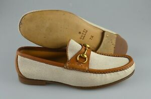 Men's GUCCI 'Horsebit' Brown / Cream Leather Loafers Size US 8.5 GUCCI 7.5