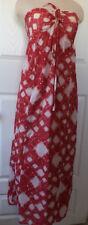 LC Lauren Conrad Red White Halter Cotton Maxi Dress Women's Size 8