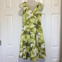 "Ann Taylor Dress Size 4 Sun Green Floral Sleeveless 28"" waist Flare Pleat Spring"