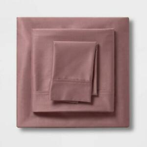 Threshold Sheet Set Twin XL Pink Dark Rose Sateen 100% Cotton 400 Thread Count