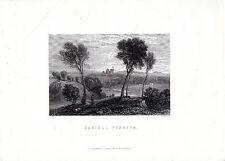 """Antiguo galés Impresiones - """"Castell Penrhyn"""" - Radclyffe acero grabado (1872)"""