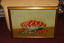 Original Antique Master Oil Painting-Bowl Of Cherries-Signed K Bella?-Pea Pods